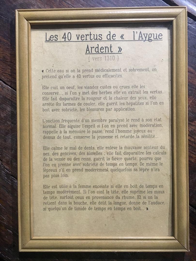 Les 40 vertus de l'Aygue Ardent